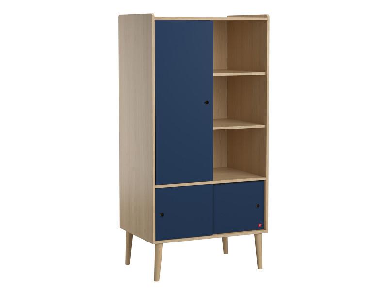 Armoire 1 porte retro - bois bleu