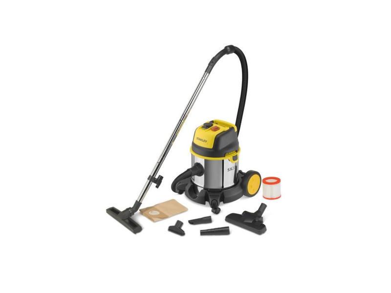 Stanley aspirateur eau et poussiere 1400 w cuve 20 l en inox avec prise pour outil électroportatif