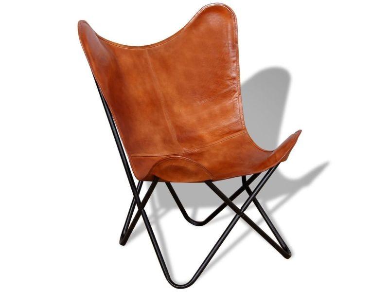 Fauteuil chaise siège lounge design club sofa salon papillon cuir véritable marron helloshop26 1102094/3