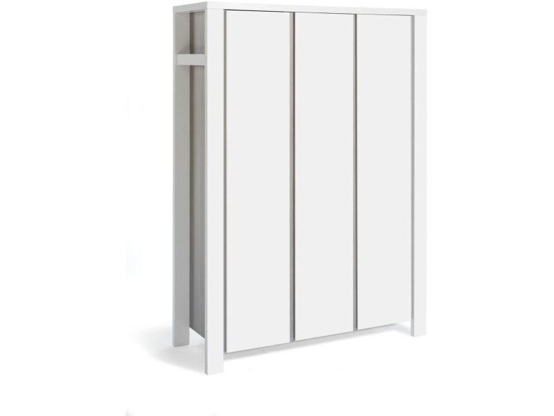 Armoire bébé 3 portes bois laqué blanc et pin gris milano pinie l 140 x h 195 x p 55 cm 06 648 91 02
