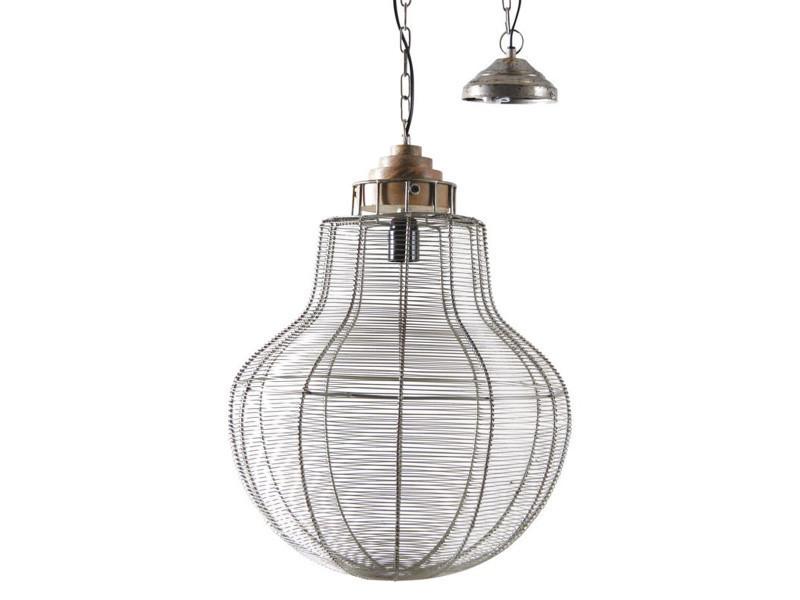 Lampe suspension en métal gris antique et bois - d 40 h 55-122 cm - pegane -