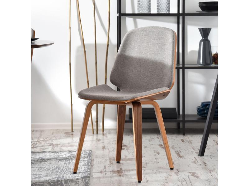 Chaise design - VINCETTI - 48 cm - beige / noyer - pieds en bois massif