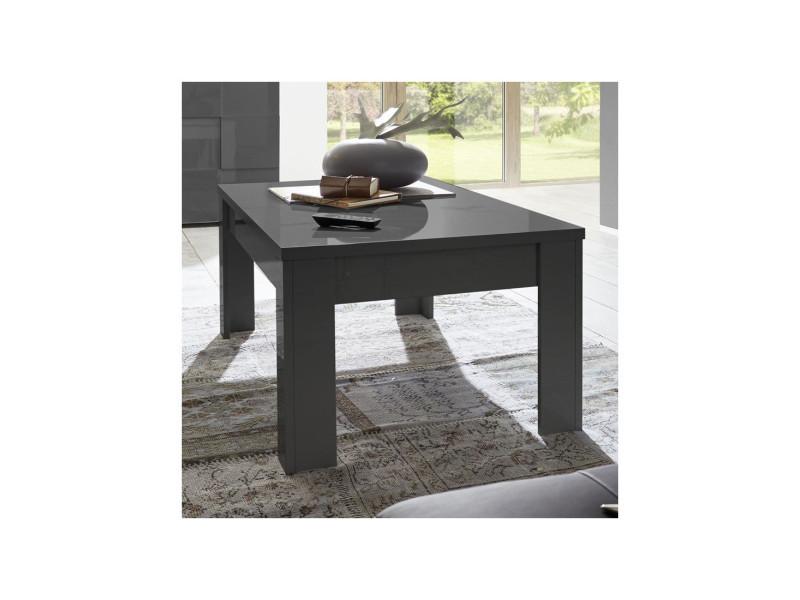 Table basse laqué gris brillant - ticato - l 122 x l 65 x h 45 - neuf