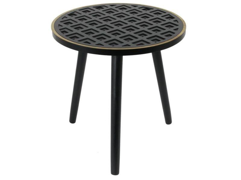 Lisea - table d'appoint ronde plateau noir et doré