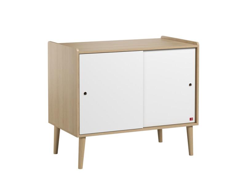 Commode 2 portes coulissantes retro - bois blanc