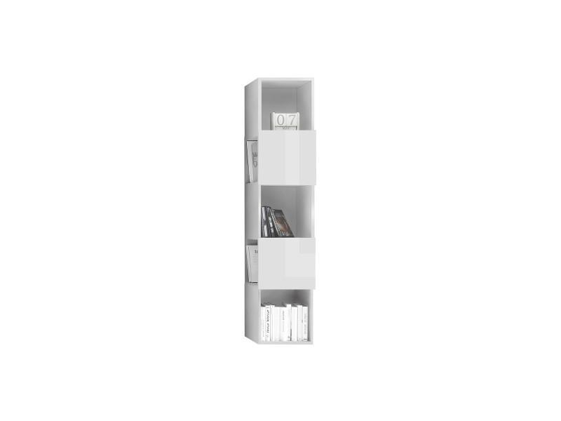 Etagère murale verticale 5 rangements laquée blanc brillant eternel