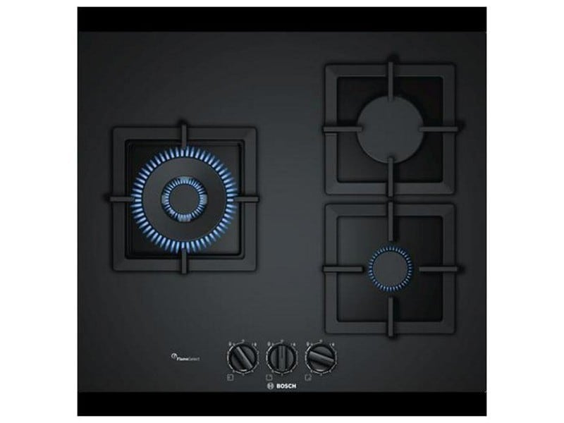 Plaque à gaz noir 60 cm (3 feux) - - dimensions 60 cm et puissance: 8000 w