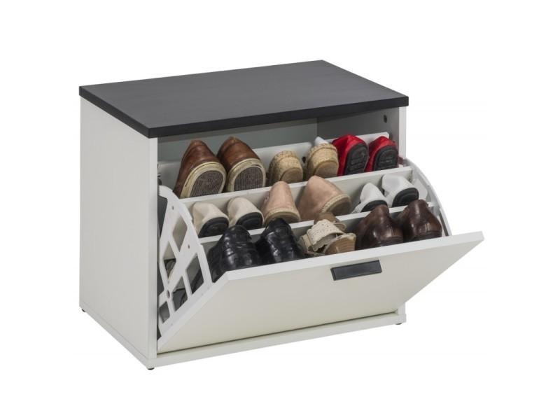 Banc coffre à chaussures 9 paires - coloris: blanc