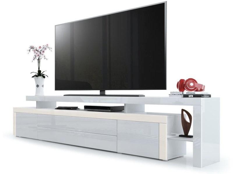 Meuble tv blanc / crème laqué 227 cm