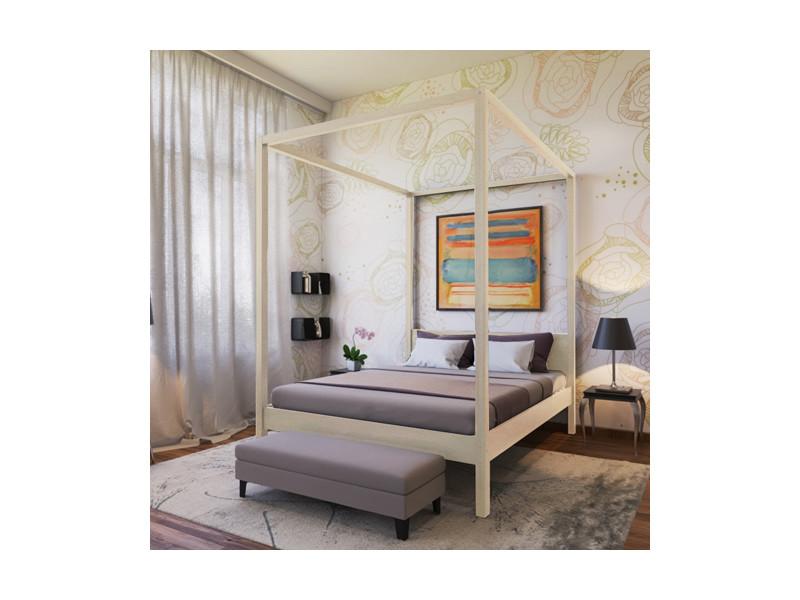 lit double baldaquin romance 160x200 naturel 13021z conforama. Black Bedroom Furniture Sets. Home Design Ideas
