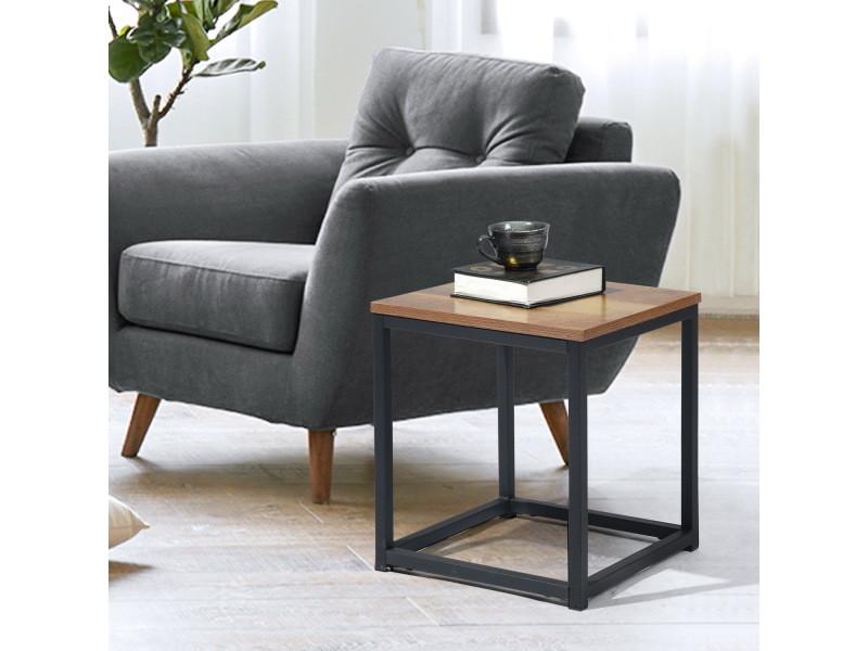 Table de bout carrée bois foncé / noir