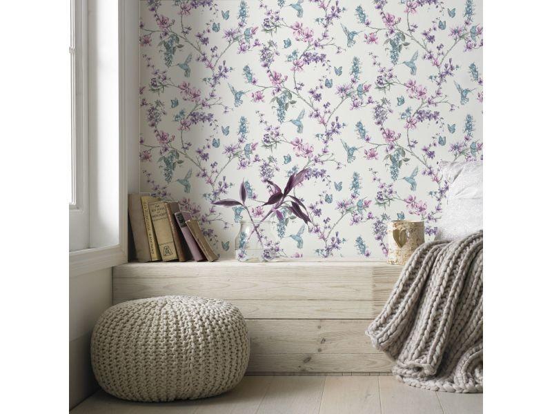 Papier peint intissé bucolique 1005 x 52cm bleu, violet 104891