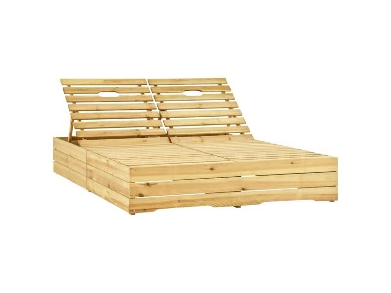 Vidaxl chaise longue double et coussins vert bois de pin imprégné