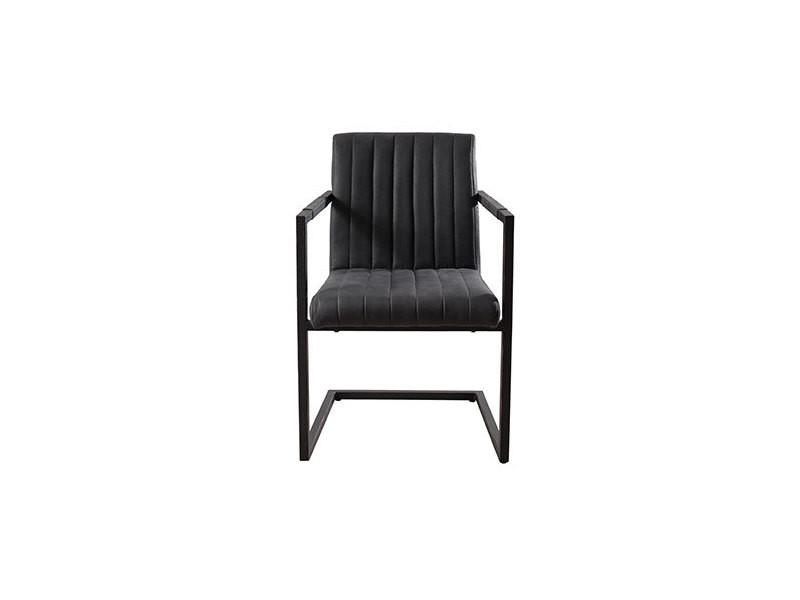Lot de 2 fauteuils en pu gris anthracite