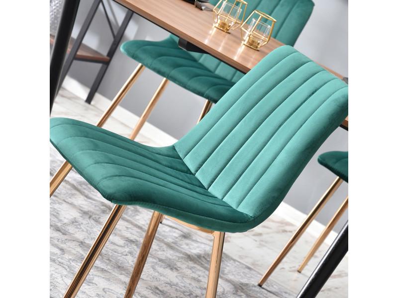 Chaise design / chaise salle à manger - megan - vert sarcelle / cuivre - tapisée d'un tissu velours - pieds en acier