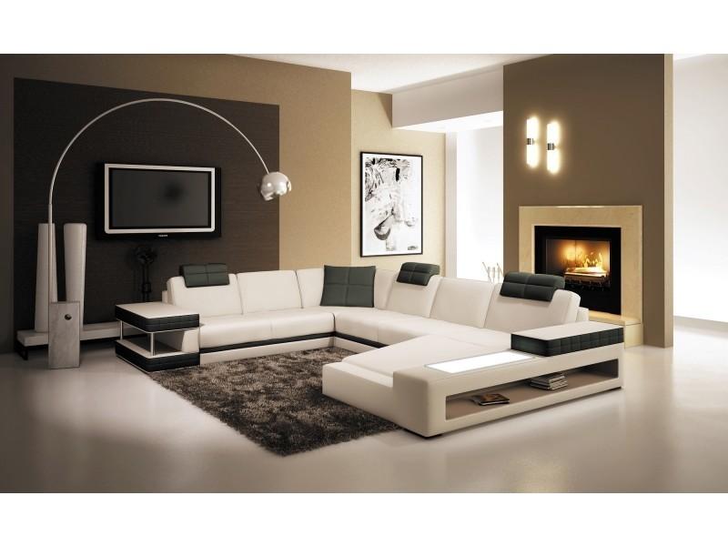 Canapé d'angle panoramique en cuir blanc et noir marcus (droit)-
