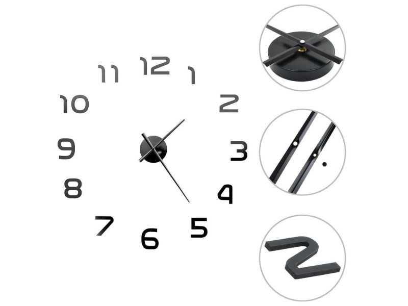 Vidaxl horloge murale 3d design moderne 100 cm xxl noir 50639