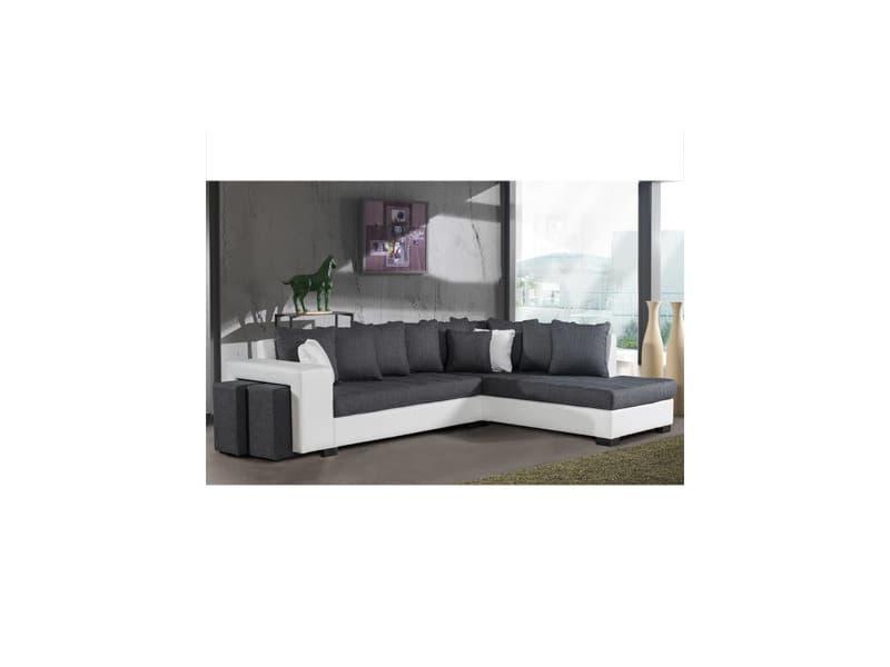 Canapé d'angle à droite gris et pvc blanc - paloma