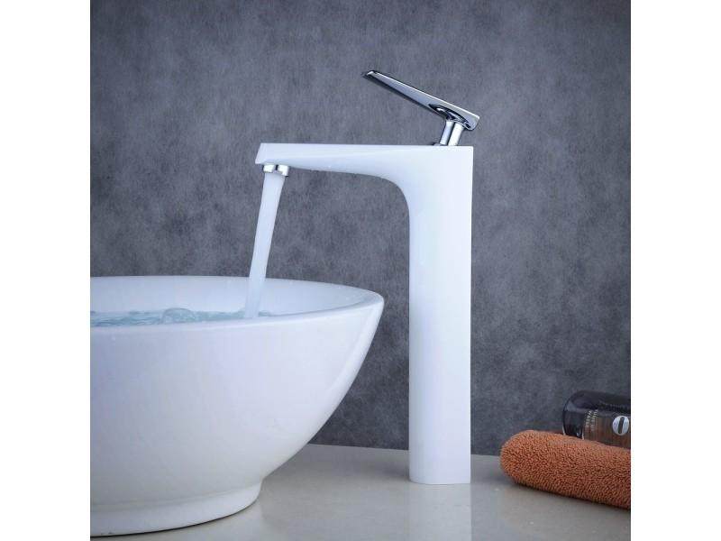 Robinet De Lavabo Haut Pour Vasque Laiton Massif Blanc Chrome