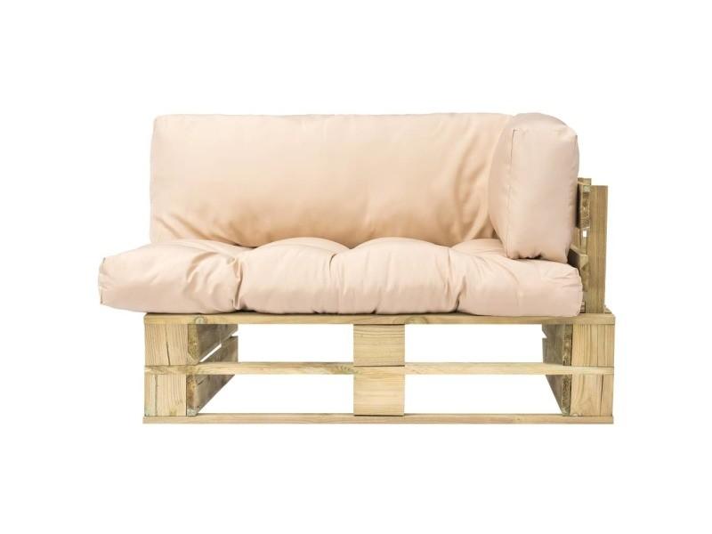 Icaverne - canapés d'extérieur gamme canapé de jardin palette avec coussins sable bois vert fsc