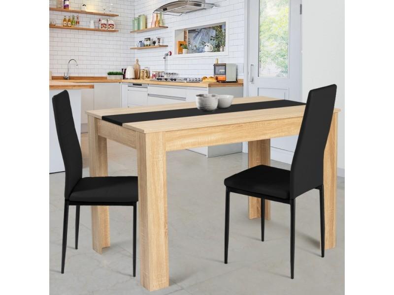 Table à manger rozy 4 personnes imitation hêtre et noire 110 cm