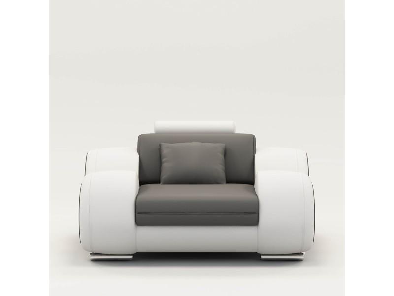 Fauteuil cuir relax design gris et blanc oslo