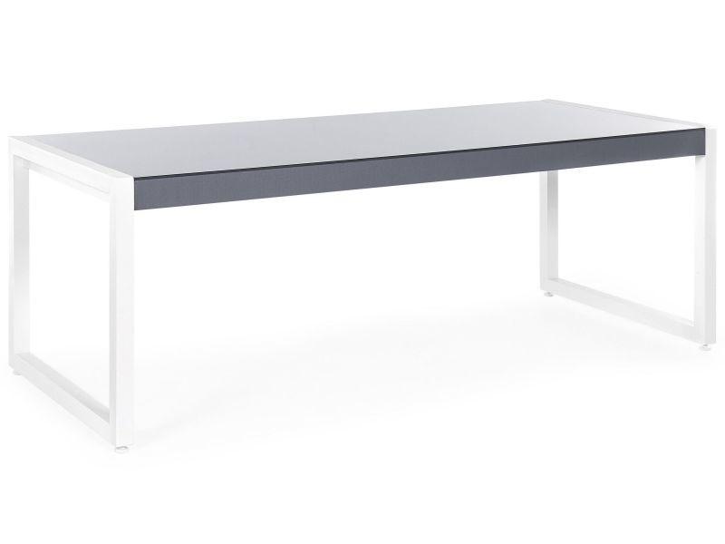 Table de jardin en aluminium gris et blanc 210 x 90 cm bacoli 145972