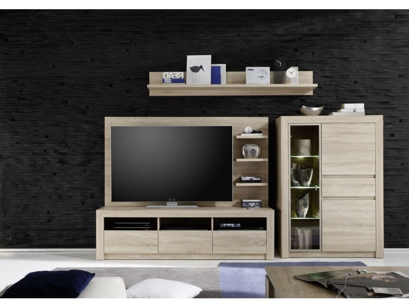 ensemble meuble tv 286 cm avec 1 banc tv 1 vitrine 1 panneau mural et 1 tag re coloris. Black Bedroom Furniture Sets. Home Design Ideas