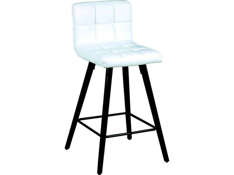 Lot de 2 tabourets de bar coloris blanc - dim : l.39 x p.43 x ht.91 x ht ass.65 cm