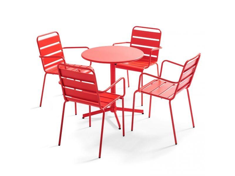 Table de jardin bistrot rabattable ⌀70cm et 4 fauteuils en métal palavas 4 places acier rouge