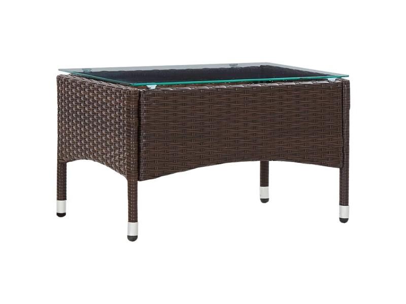 Magnifique mobilier de jardin famille berlin table basse marron 60x40x36 cm résine tressée