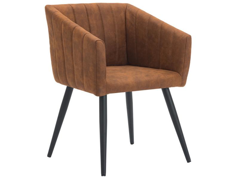 Duhome fauteuil salle à manger aspect en cuir marron orangé design retro avec pieds en métal 8065