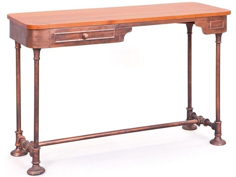 Bureau cm style industriel en bois massif et en métal coloris