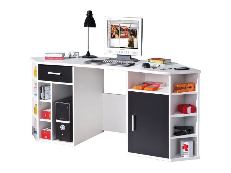 bureau d 39 angle avec rangement coloris noir et blanc. Black Bedroom Furniture Sets. Home Design Ideas