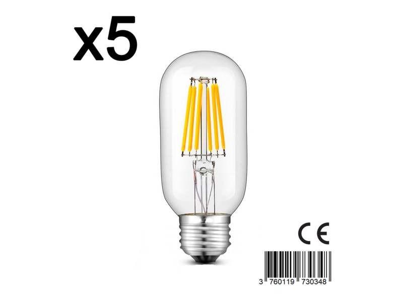 Lot de 5 ampoule filament led e27 blanc chaud sedna e27 t45 6w h12cm