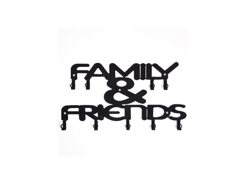 Homemania porte-manteau famille et amis - phrases - avec crochets - décoration murale, art mural, mur - de l'entrée, du couloir - noir en métal, 47 x 2 x 29 cm