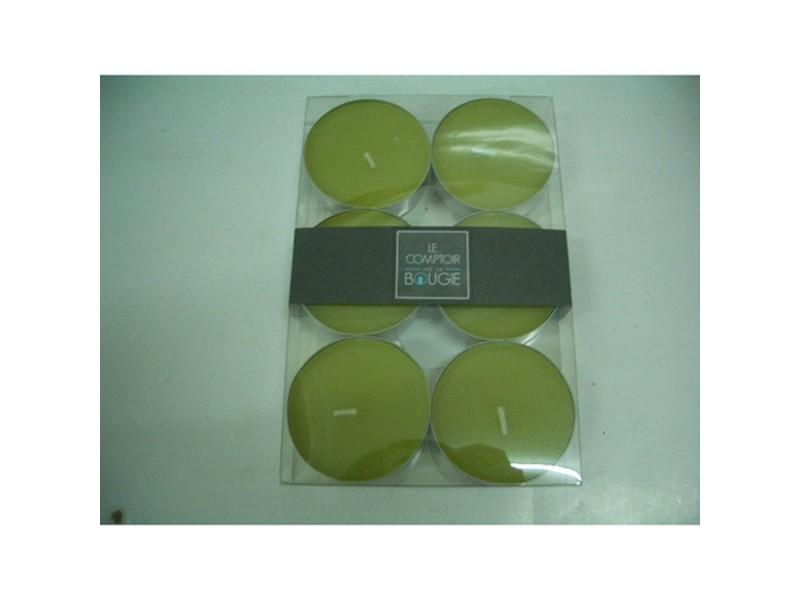 Lot de 6 bougies colorées - diam. 5,9 cm - vert