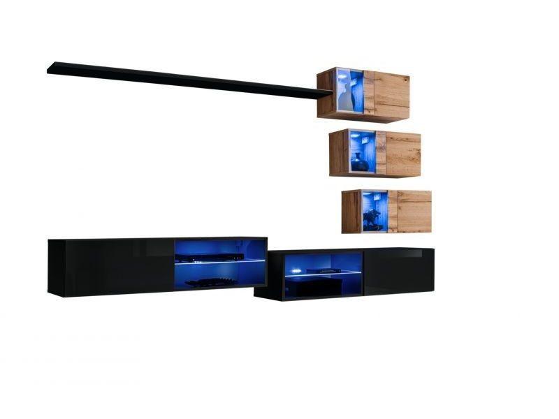 Ensemble meuble tv mural switch xxiv - l 260 x p 40 x h 170 cm - marron et noir
