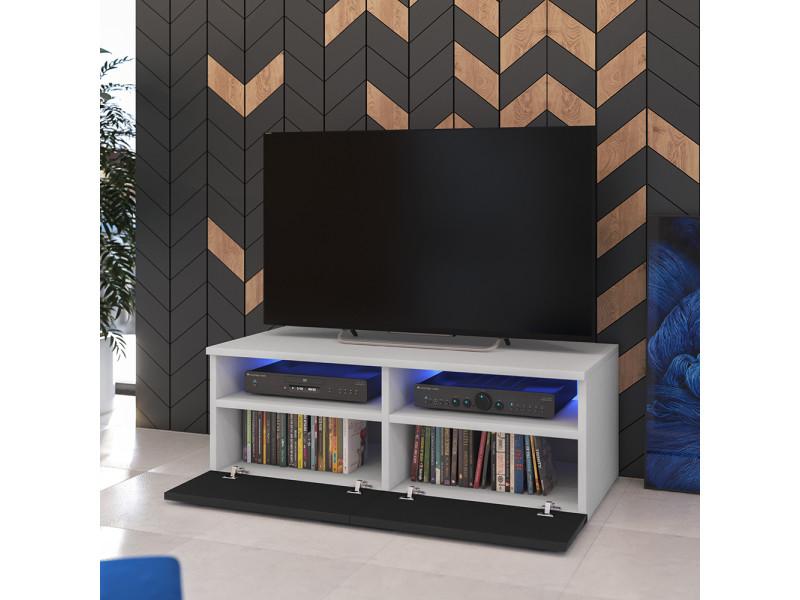 Meuble Tv Siena Avec Led 100 Cm Blanc Mat Noir Brillant