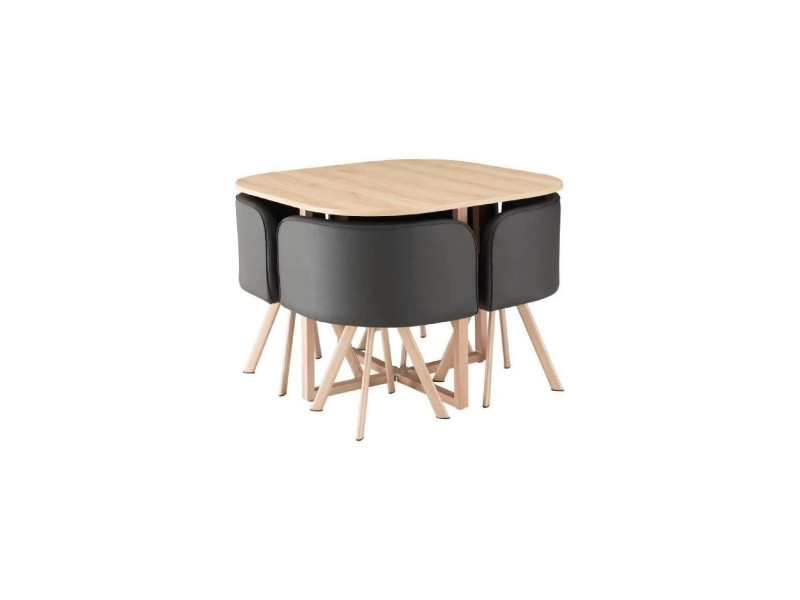 Lund ensemble table a manger 4 personnes style industriel