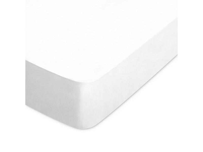 Drap housse uni 90x190 cm pur percale primo blanc