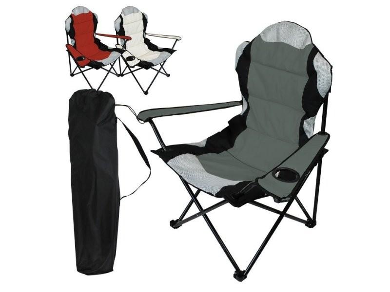 Chaise de camping pliable + sac de transport - gris