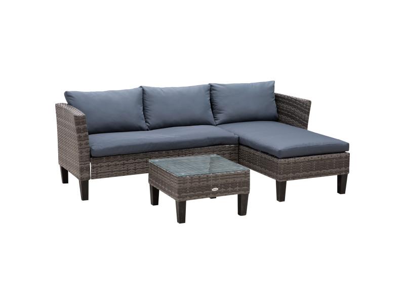 Ensemble salon de jardin 2 pièces canapé d'angle 4 places et table basse plateau verre trempé 5 coussins résine tressée gris