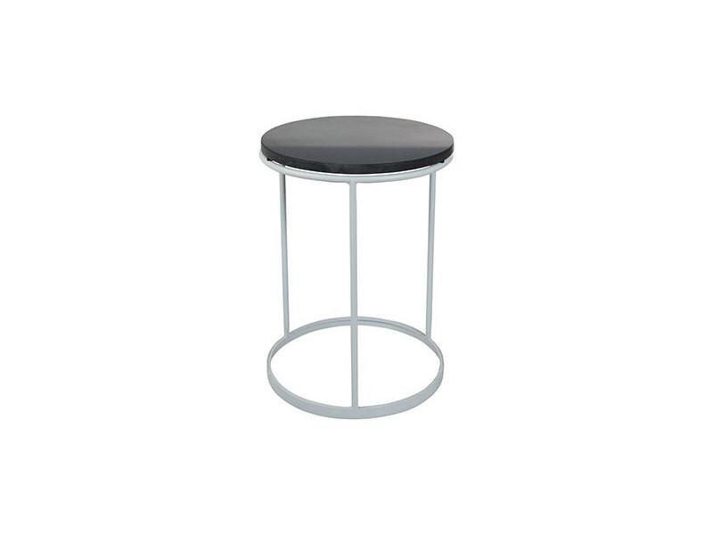 Table d'appoint 36x36x47cm en marbre noir et métal