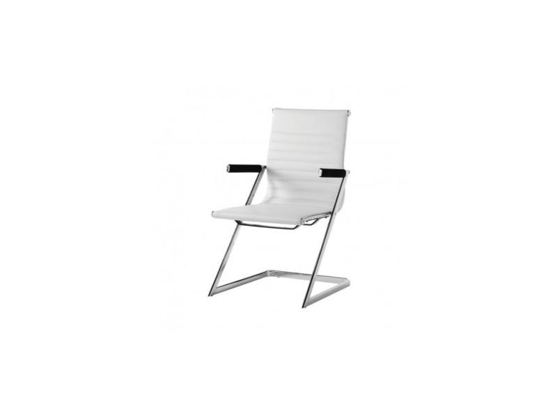 Chaise de bureau design simili cuir blanc zeta