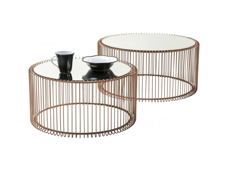 Set de 2 tables basses cuivre et miroir wire