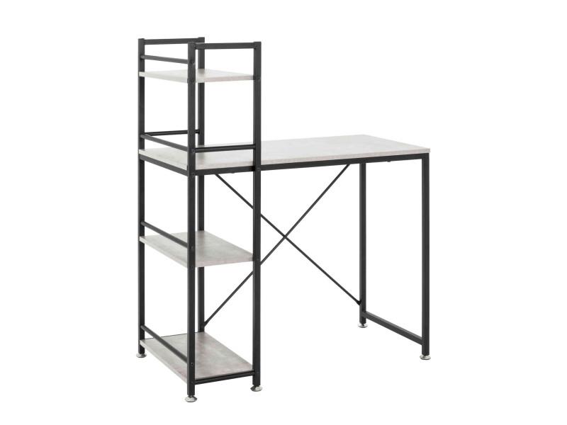 Bureau avec étagères de rangement en acier noir et bois imitation béton - bu15045