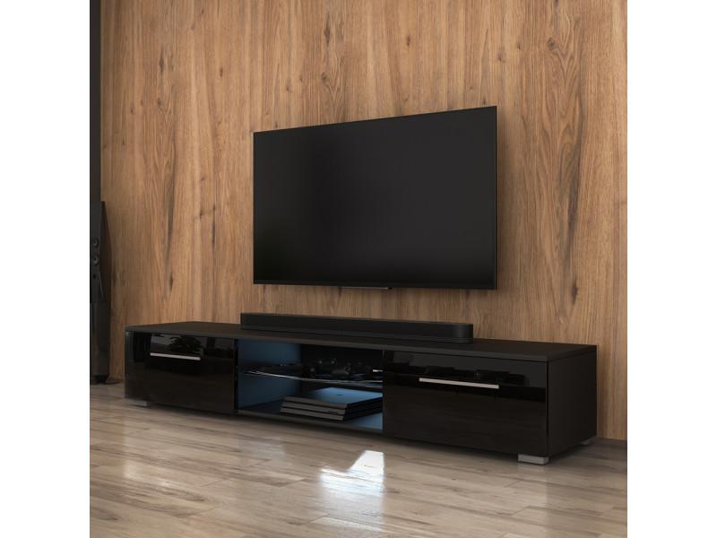 Meuble Tv Edith 140 Cm Noir Mat Noir Brillant Avec Led Bleue