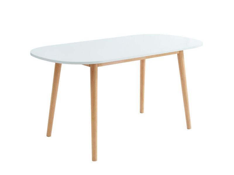 Table à manger scandinave blanc et bois 160x80x75 cm ...