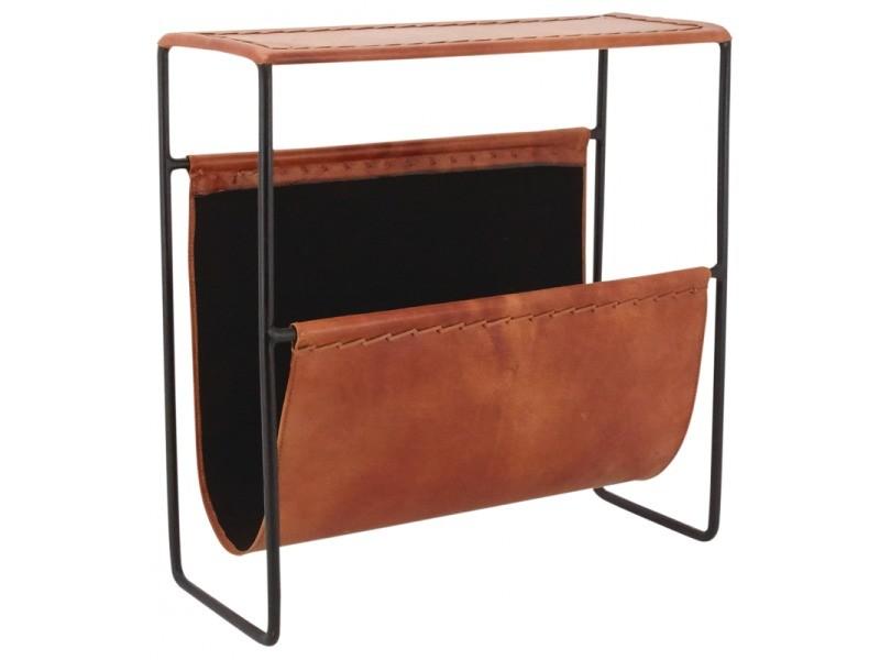 Porte-revues en métal et cuir, 44 x 18 x 48 cm -pegane-